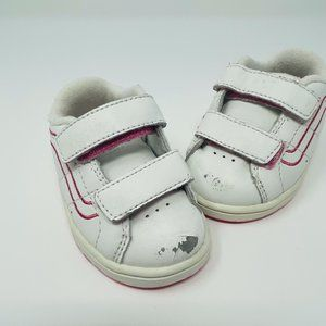 Vans Toddler White and Pink Sneakers Velcro Straps